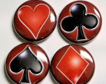 Playing Cards Buttons Set of 4 Pinbacks Badges 1 inch Design 2