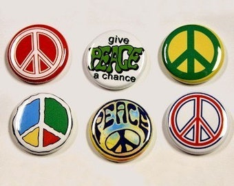 Peace Set of 6 Buttons Pinbacks Badges 1 inch