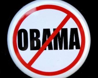 No Obama - Button Pinback Badge 1 1/2 inch