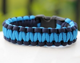 550 Paracord Survival Bracelet - Navy and Colonial Blue