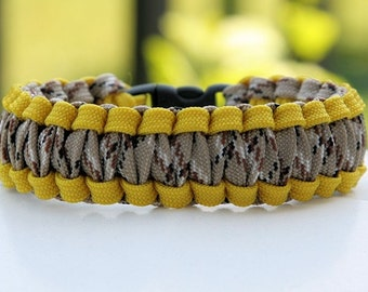 Paracord Survival Bracelet Cobra Gutted - Support Out Troops Desert Camo