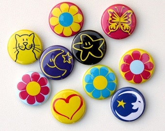 Girly Pack Set of 10 Buttons Pinbacks Badges 1 inch