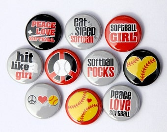 Softball Set of 10 Buttons Pinbacks Badges 1 inch - Flatbacks or Magnets