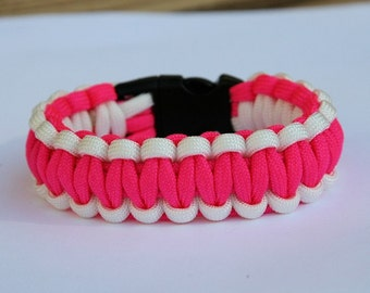 Paracord Survival Bracelet - White and Neon Pink
