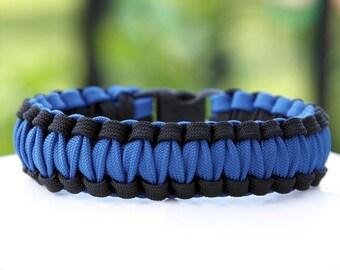 Paracord Survival Bracelet Cobra Gutted - Thin Blue Line