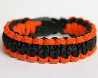 Paracord Survival Bracelet - Neon Orange and Black