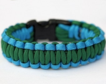Paracord Survival Bracelet - Colonial Blue and Kelly Green