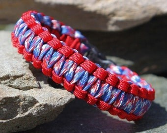 Paracord Survival Bracelet Cobra Gutted - Red and USA