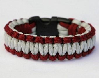Paracord Survival Bracelet - Burgundy and Silver