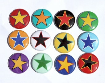 Stars Set of 12 Buttons Pinbacks Badges 1 inch