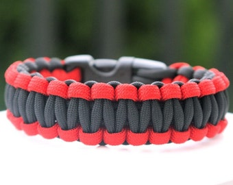 550 Paracord Survival Bracelet - Red and Black