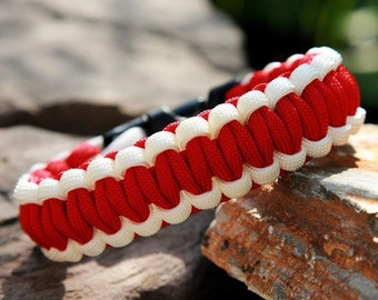 550 Paracord Survival Bracelet - White and Red