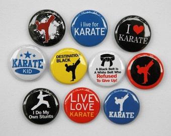 Karate Set of 10 Buttons Pinbacks Badges 1 inch - Flatbacks or Magnets