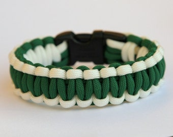 550 Paracord Survival Bracelet - White and Kelly Green