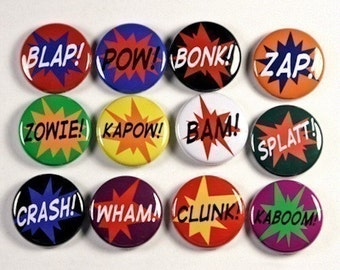 Superhero Sound Effects Set of 12 Pinback Buttons Badges 1 inch