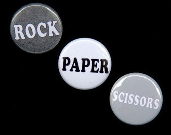 Rock Paper Scissors Set of 3 Buttons Pins Badges 1 inch