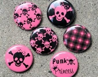 Punk Princess Set of 6 - Buttons Pinbacks Badges 1 inch