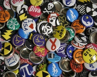 100 Assorted 1 inch Buttons Pinbacks Badges