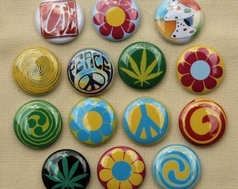 Psychadelic Hippie Peace Buttons Set of 14 Pinbacks Badges 1 inch - Flatbacks or Magnets