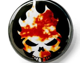Flaming Skull - Button Pinback Badge 1 inch