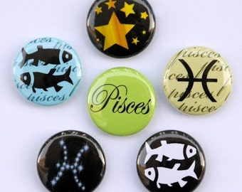 Pisces Set of 6 Buttons - Pinbacks Badges 1 inch