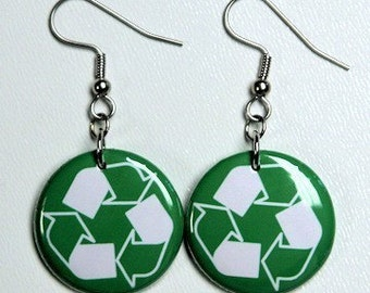 Green Recycle Symbol - Button Earrings