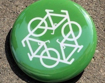 Recycle Bicycle Green - Button Pinback Badge 1 1/2 inch - Magnet Keychain or Flatback