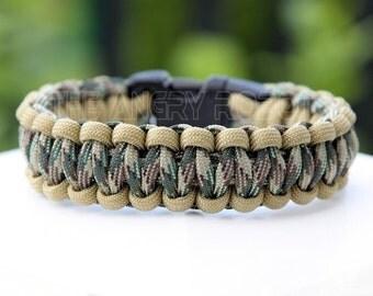 Paracord Survival Bracelet - Desert Tan and Multi Camo