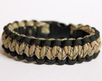 Paracord Survival Bracelet - Black and Desert Camo