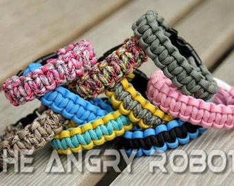 SLIM Paracord Survival Bracelet Cobra - You Choose The Colors