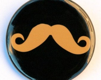 Mustache - Button Pinback Badge 1 1/2 inch 1.5 Tan - Flatback Magnet or Keychain