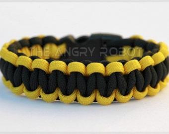SLIM Paracord Survival Bracelet Cobra - Yellow and Black