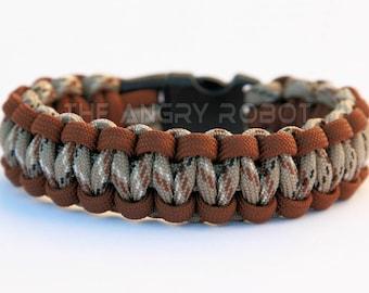 SLIM Paracord Survival Bracelet Cobra - Brown and Desert Camo