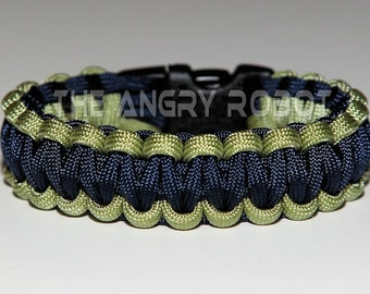 550 Paracord Survival Bracelet - Moss and Navy
