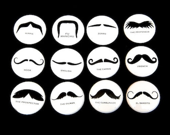 Mustaches Set of 12 - Magnets 1 inch - White