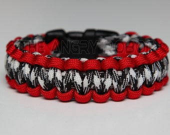 550 Paracord Survival Bracelet  - Red and Black Combo