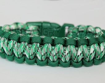 550 Paracord Survival Bracelet  - Kelly Green and Green Camo - Green Buckle