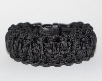 Paracord Survival Bracelet  King Cobra - Black