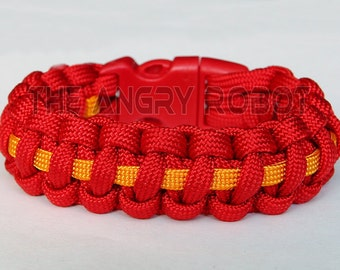 SLIM Paracord Bracelet Cobra Deluxe - Red and Goldenrod - Red Buckle