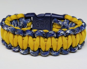 550 Paracord Survival Bracelet  - Blue Camo and Yellow with Navy Buckle