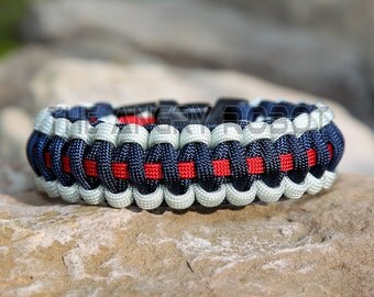 Paracord Bracelet - Team Colors - Silver Navy Red - Deluxe
