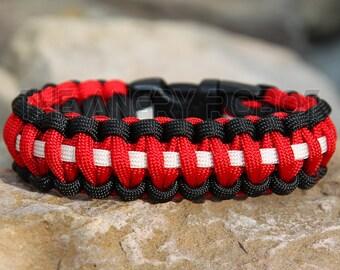 Paracord Bracelet - Team Colors - Black Red White - Deluxe