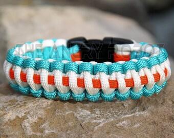 Paracord Bracelet - Team Colors -  Turquoise White Neon Orange - Deluxe