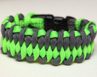 550 Paracord Bracelet Dragon's Tongue - Neon Lime and Grey