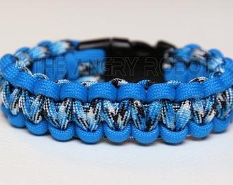 SLIM Paracord Survival Bracelet Cobra - Colonial Blue and Blue Snake