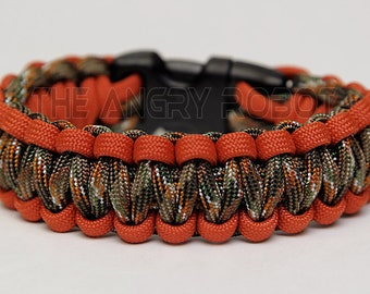 550 Paracord Survival Bracelet  - Burnt Orange and Hidden Camo