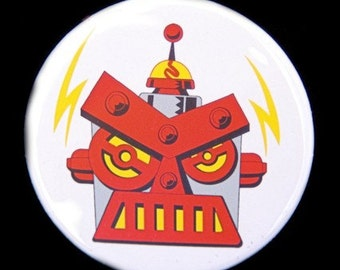 The Angry Robot Full Color Button Pinback Badge 1 1/2 inch - Magnet Keychain or Flatback
