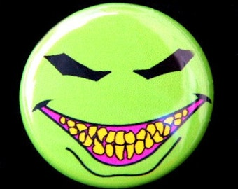 Evil Happy Face - Pinabck Button Badge 1 inch