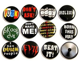 Punk Slogans 1 Set of 12 Buttons Pinbacks Badges 1 inch