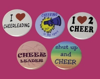 Cheerleader Set Of 5 Buttons Pinbacks Badges 1 1/2 inch